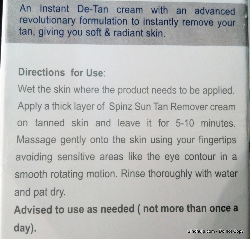 Spinz Sun-Tan Remover direction for use