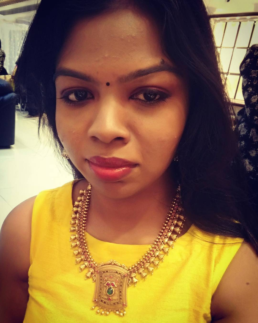 Tried this beautiful antiquenecklace from the newly opening kalyanjewellers athellip
