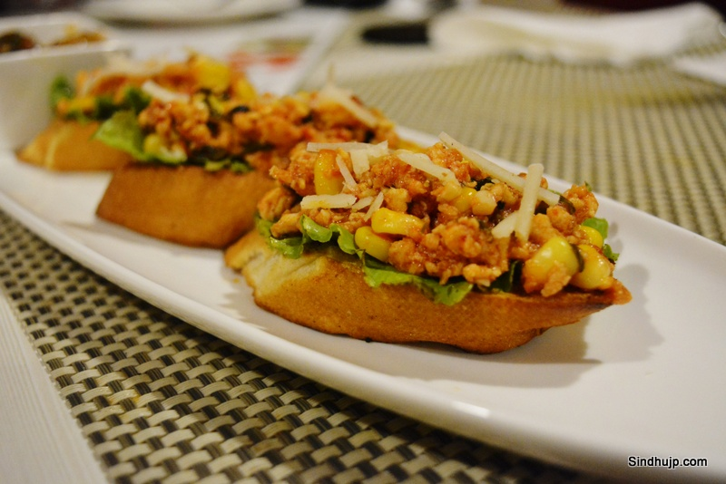 Chicken Salsa on toast in french loaf
