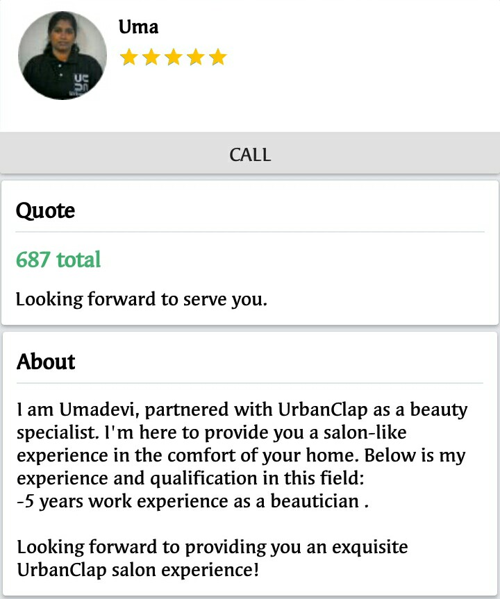 Salon at home service by Urbanclap review - Sindhujp