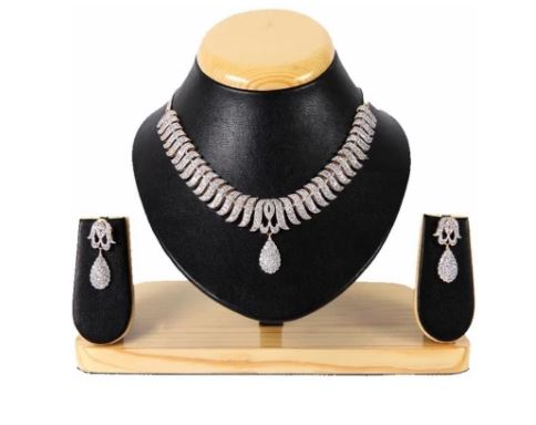 american diamond gold plated necklace set youbella
