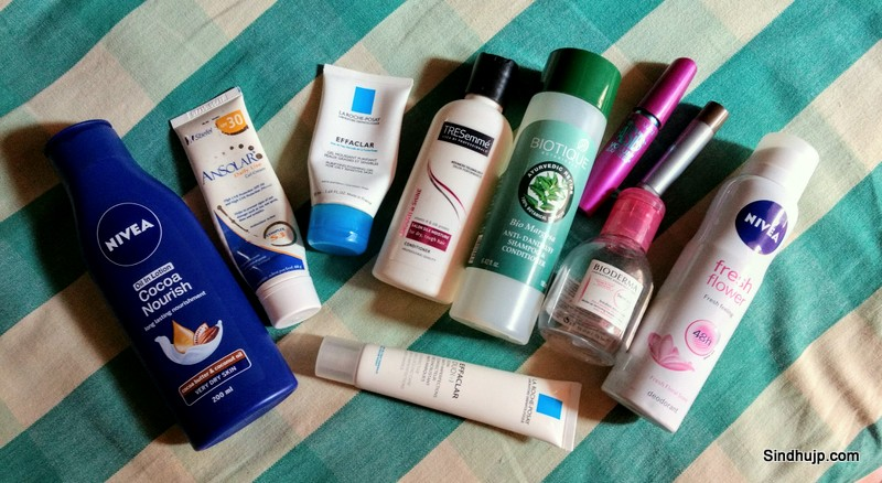 skincare products empties
